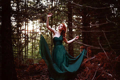 One Shoulder Dark Green Empire Waist Evening Dress