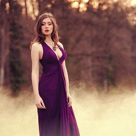 Stylish Halter V cut Evening Dress