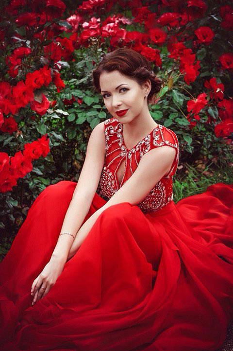 Sleeveless Beaded Red Prom Dress