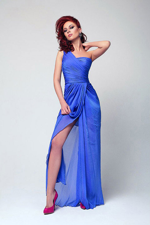 Gorgeous Blue One shoulder Evening Dress
