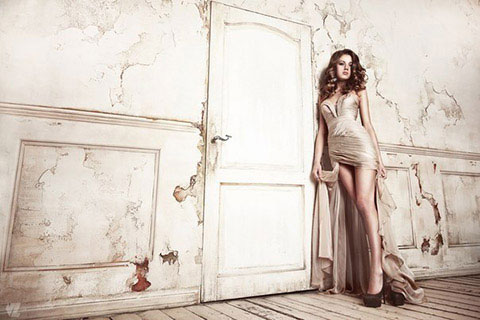 Chiffon beige dress