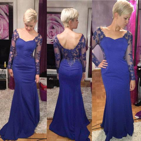 Lang Blau Sexy Abendkleid
