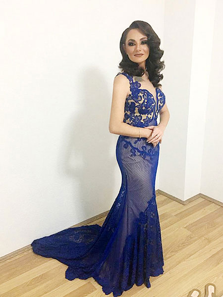 blau Meerjungfrau Linie Abendkleid mit Schleppe, Spitze Applikation