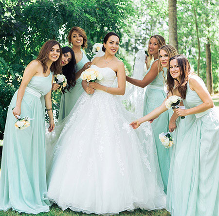One Shoulder Mint Bridesmaid Dress Long Prom Dress