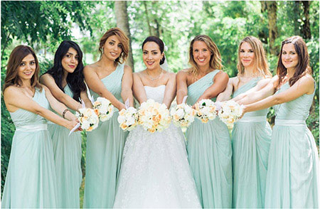 Mint Bridesmaid Dress One Shoulder A-line