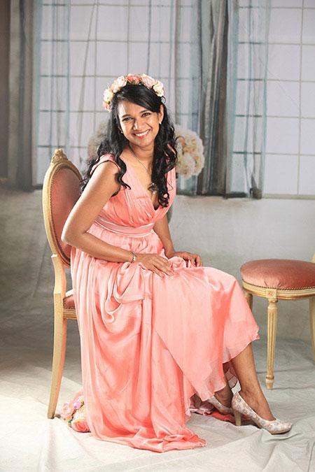 A-line Pink V-neck Prom Dress