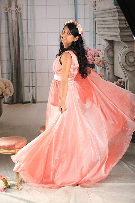 Pink V Neck Floral Embroidery Prom Evening Dress