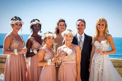 Plunging V-neck Bridesmaid Dress Blush Prom Dress