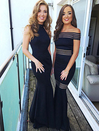 High Neck Back Bowknot Slit Black Evening Gown