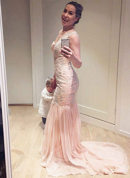 Elegant Pink One Shoulder Long Prom Dress Mermaid
