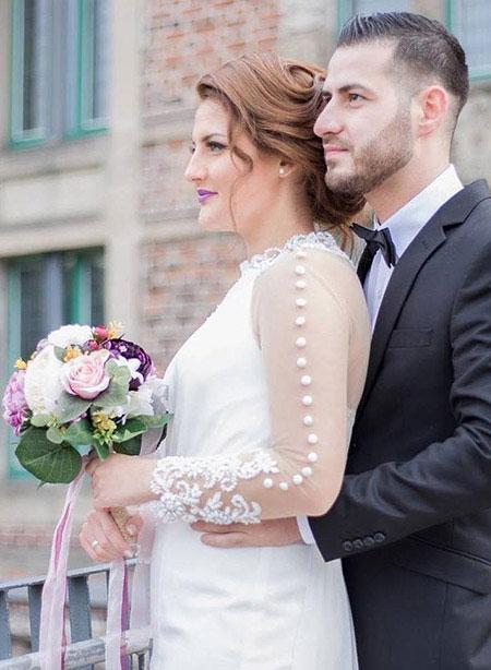 White Trumpet Long Sleeve Evening Dress Wedding Gown