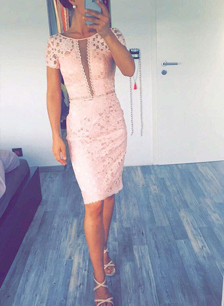 Pink Dress for Wedding, Short Party Wear