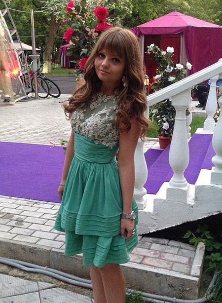 Lace Top Green Cocktail Party Dress