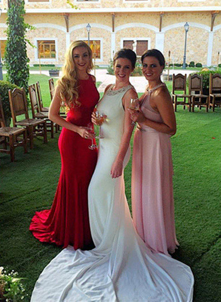 Red Strapped Mermaid Evening Gown