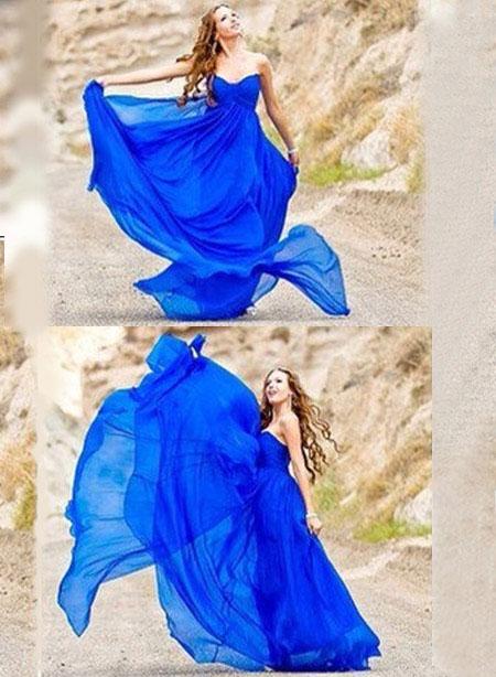 Blue Long Prom Dress Strapless