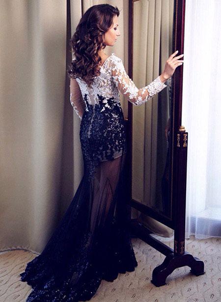 Long White and Black V Neck Prom Dress