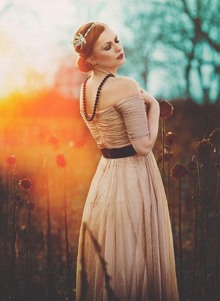 Beige Off Shoulder Prom Dress A-line
