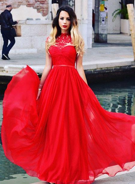 Red High Neck A-line Evening Dress