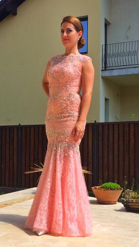Cap Sleeves Pink Evening Gown With Beaded Details