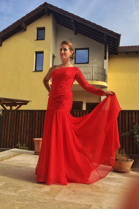 Red One Shoulder Prom Evening Dress