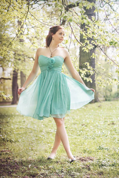 Blue Short Sweetheart Bridesmaid Dress