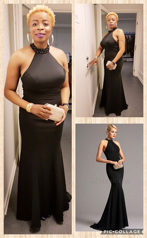 Graceful Beaded Halter Black Formal Dress Evening Gown