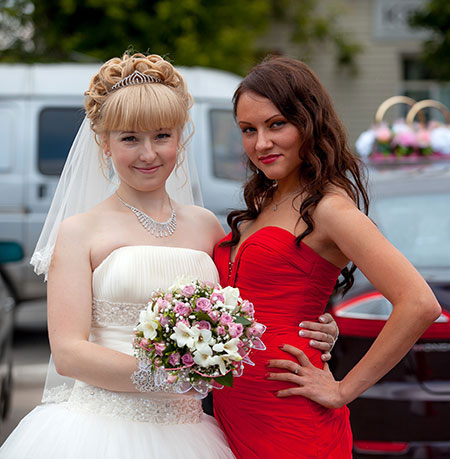 Wedding Dress and Red Sweetheart Ruched Bodice Evening Dress