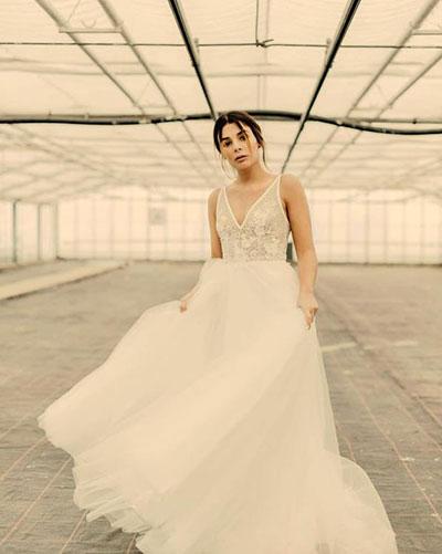 V Neck Beach Wedding Dress Reception Dress