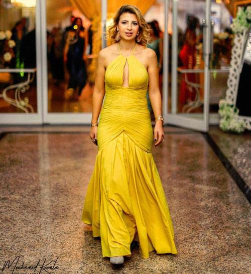 Halter Prom Dress Yellow Evening Dress Formal Dress