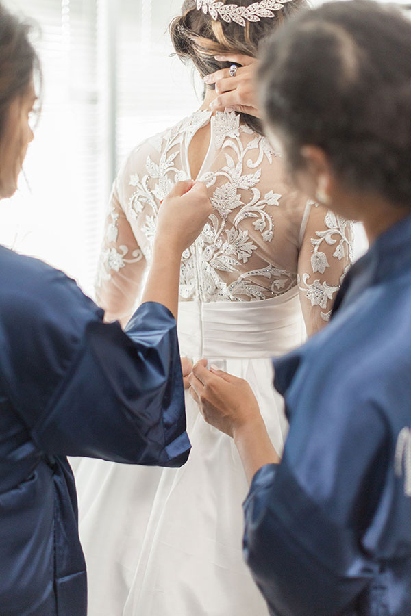 Lace Top Wedding Dress, Long Sleeves Bridal Dress