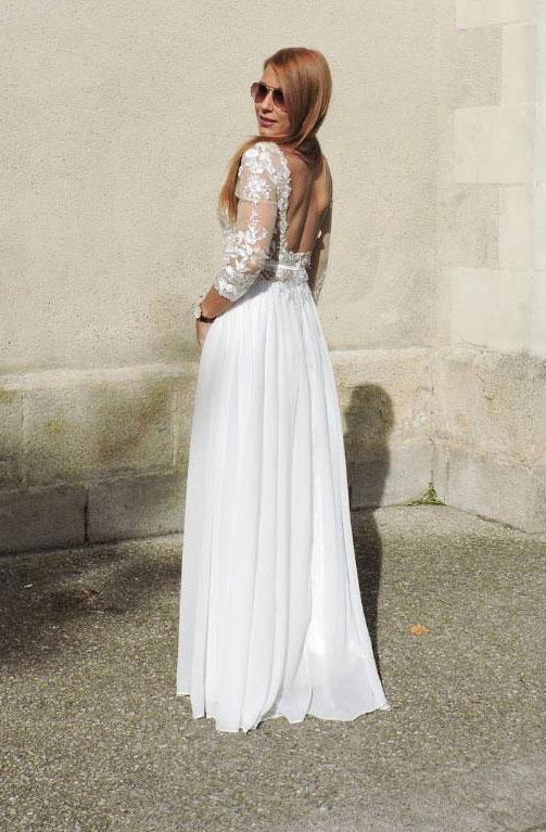 White Illusion Neckline Floral Evening Dress