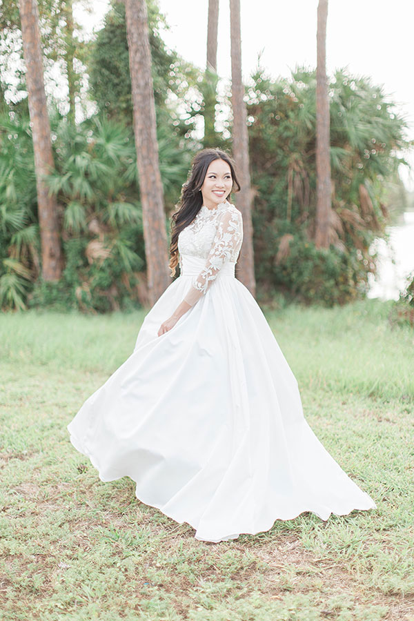 Wedding Dress Long Sleeves, White Bridal Dress With Embroidery
