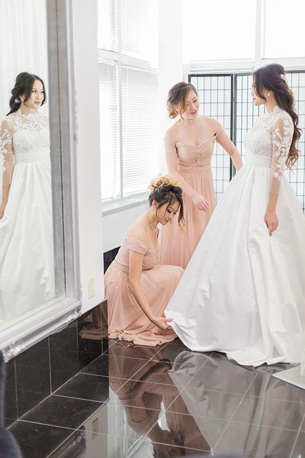 White Wedding Dress, Long Sleeves Embroidery Bridal Dress