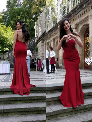 Red Straps Long Dress for Formal Party