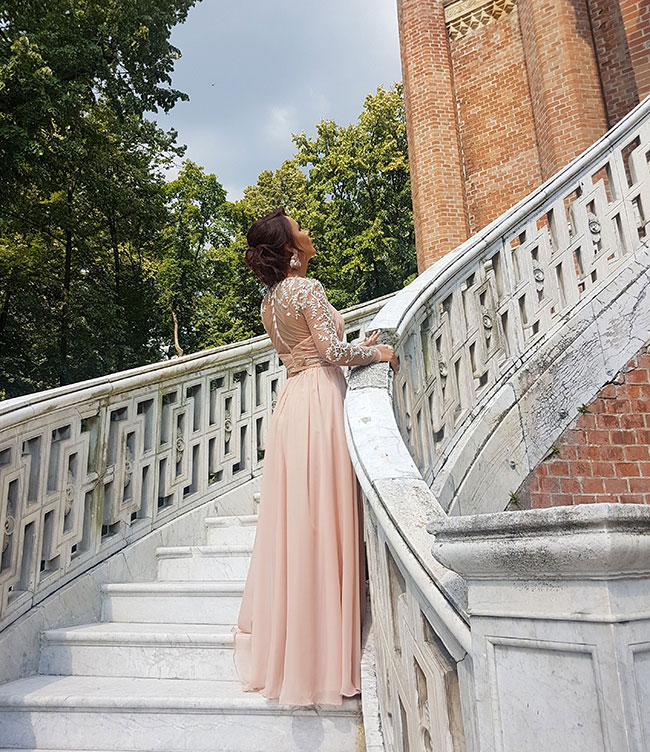 PInk Long Sleeves Prom Evening Dress