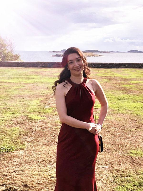 Halter Evening Dress, Burgundy Prom Dress