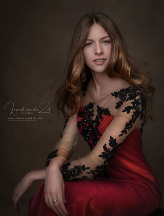 Lace Sleees Red Prom Dress Formal Wear