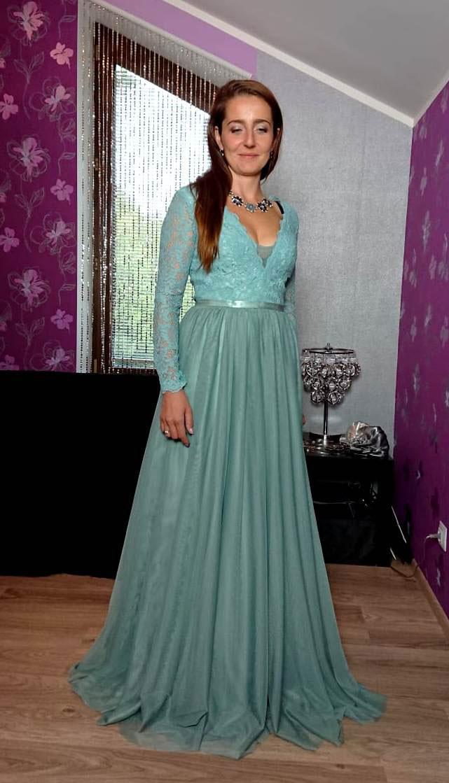 Long Sleeves Blue V Cut Prom Evening Dress