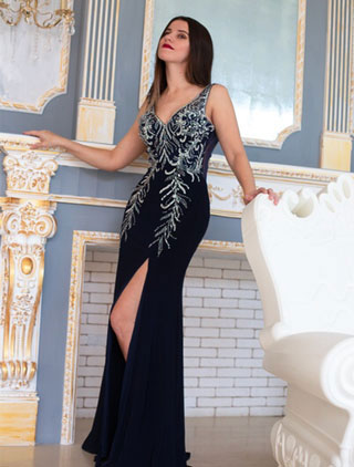 Blue V-cut Slit Evening Gown