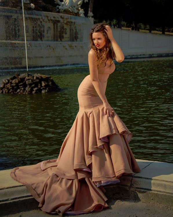 Champaign Mermaid Formal Prom Evening Dress