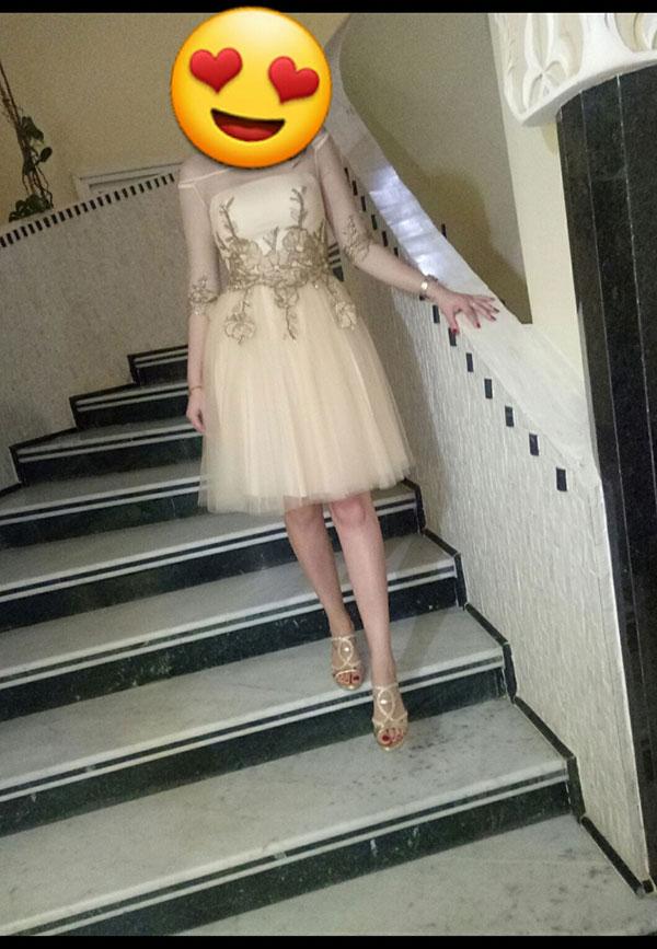 Short Cocktail Dresses, Beige Prom Dress for Wedding