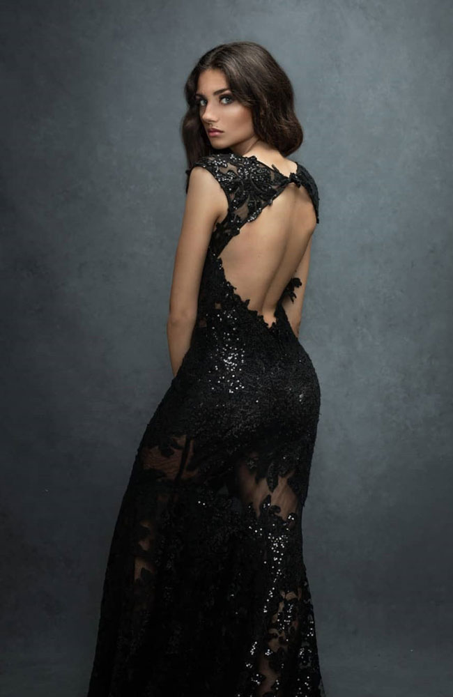 Black Lace Prom Dress Formal Dress