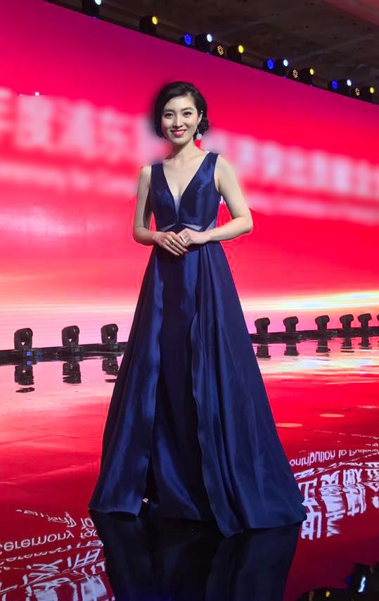 V Cut Blue Ball Gown, Formal Evening Dress