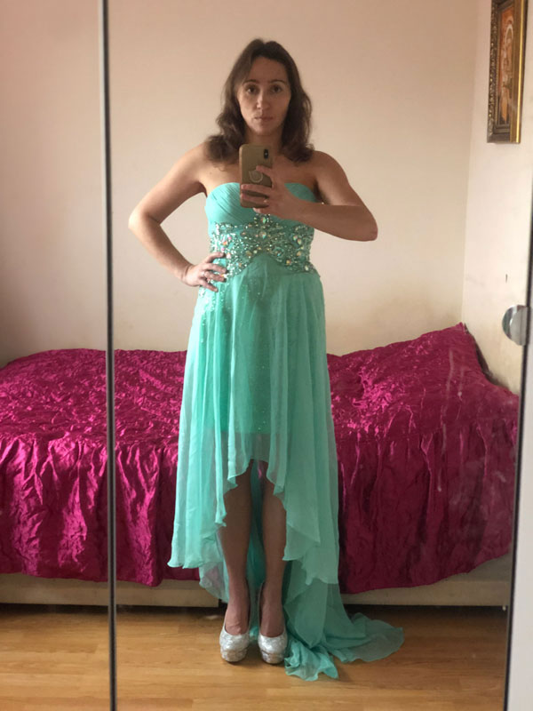 High Low Prom Dress, Green Prom Wear