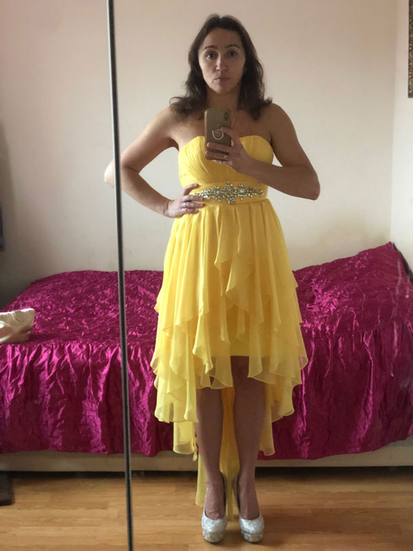 Strapless Yellow Prom Cocktail Dress, High Low Dress