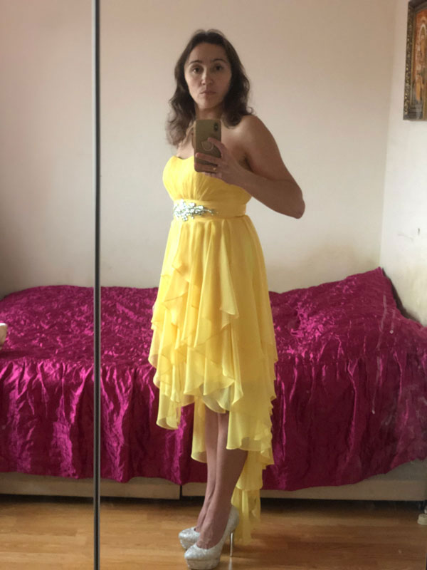 Strapless Yellow Prom Dress With High Low Skirt