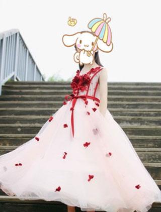 Edressit Red White Children Wedding Flower Girl Dress 27190402