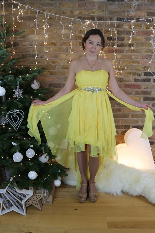 Short Yellow Party Dress for Girls Party and Christmas