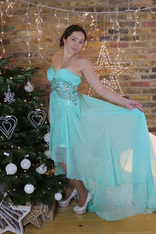 Green Prom Dress, Strapless High Low Christmas Dress