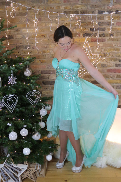 Green High Low Evening Prom Dress With Strapless Neck